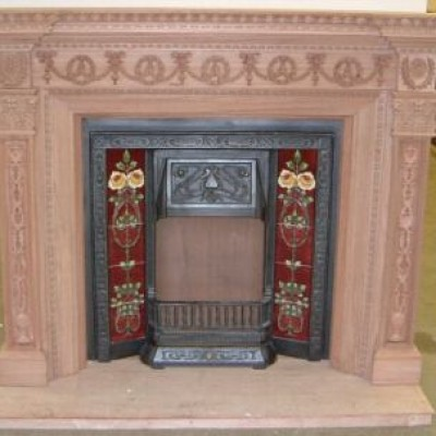 Mexican Mahogany FireSurround, tiled cast insert
