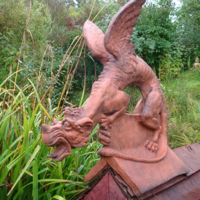 Dragon Roof finial on angled or half round Decorative Ridge tile