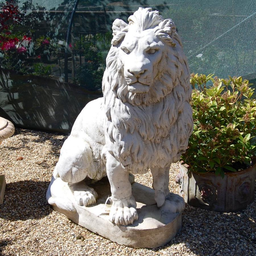 Pair of Large Lion Statues