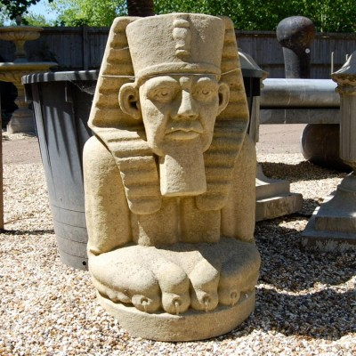 A Large Stone Pharaoh Garden Ornament