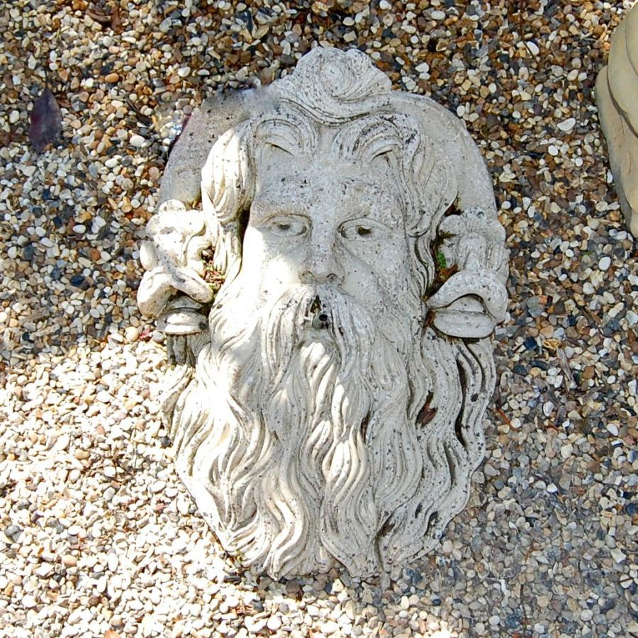 Reconstituted Stone Neptune's Head Wall Fountain