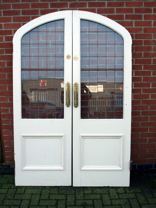 For Sale Wooden Arched Fire Doors With Metal Lined Glass Panels