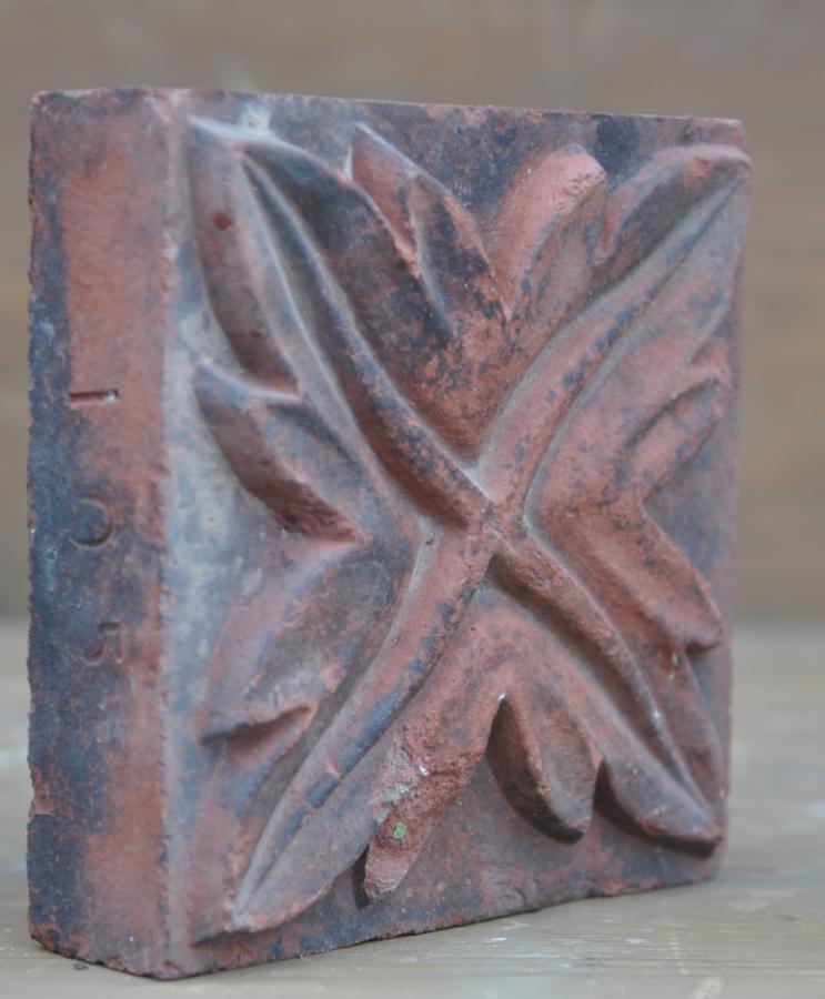 antique Decorative terracotta bricks - leaf spiral