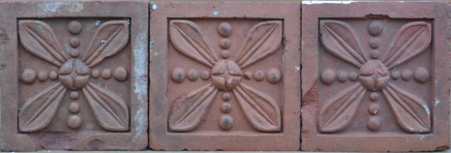 antique Decorative terracotta bricks - leaf and bead