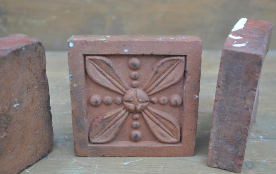 antique Decorative terracotta bricks - leaf and bead