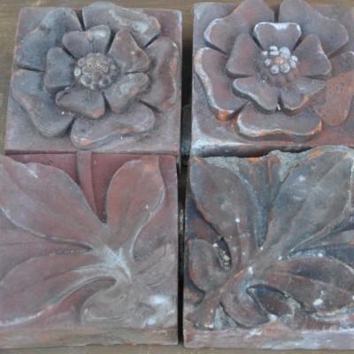 antique Decorative terracotta bricks - leaf, rose