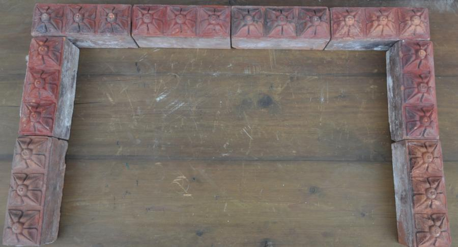 antique Decorative terracotta bricks - tri floral brick