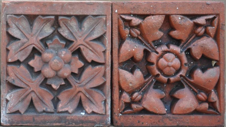 antique Decorative terracotta bricks - southport floral