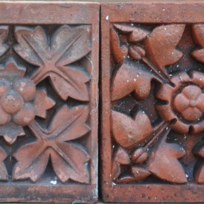 antique Decorative terracotta bricks - southport floral