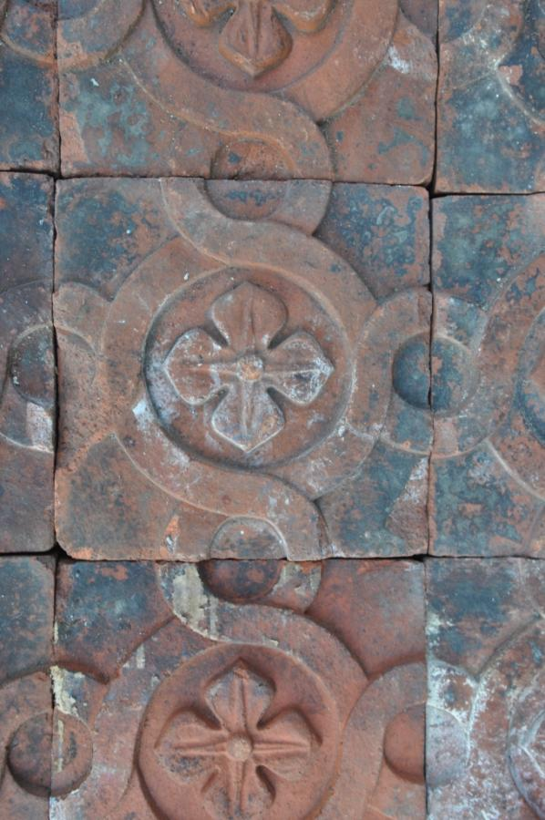 antique Decorative terracotta bricks - interlocking circles