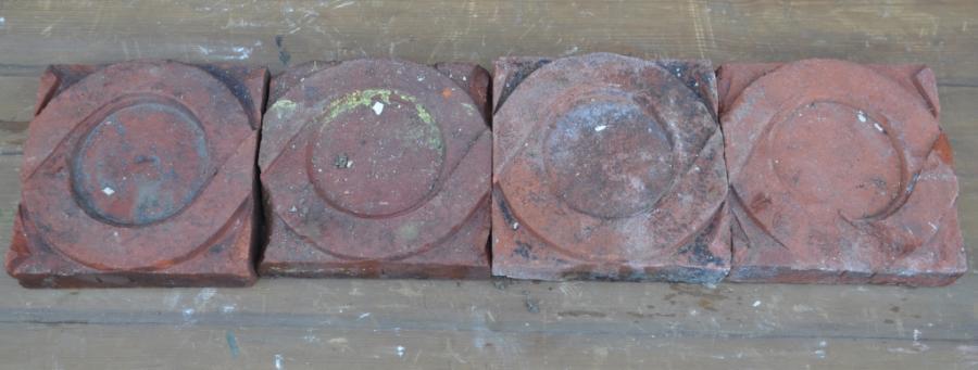 antique Decorative terracotta bricks - connecting circles