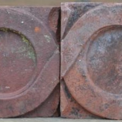 antique Decorative terracotta bricks - connecting circles