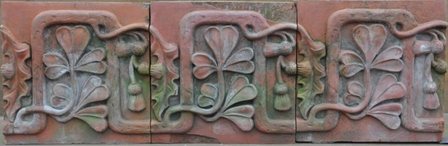 antique Decorative terracotta bricks - shamrock & thistle