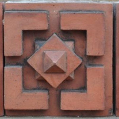 antique Decorative terracotta bricks - large geometric