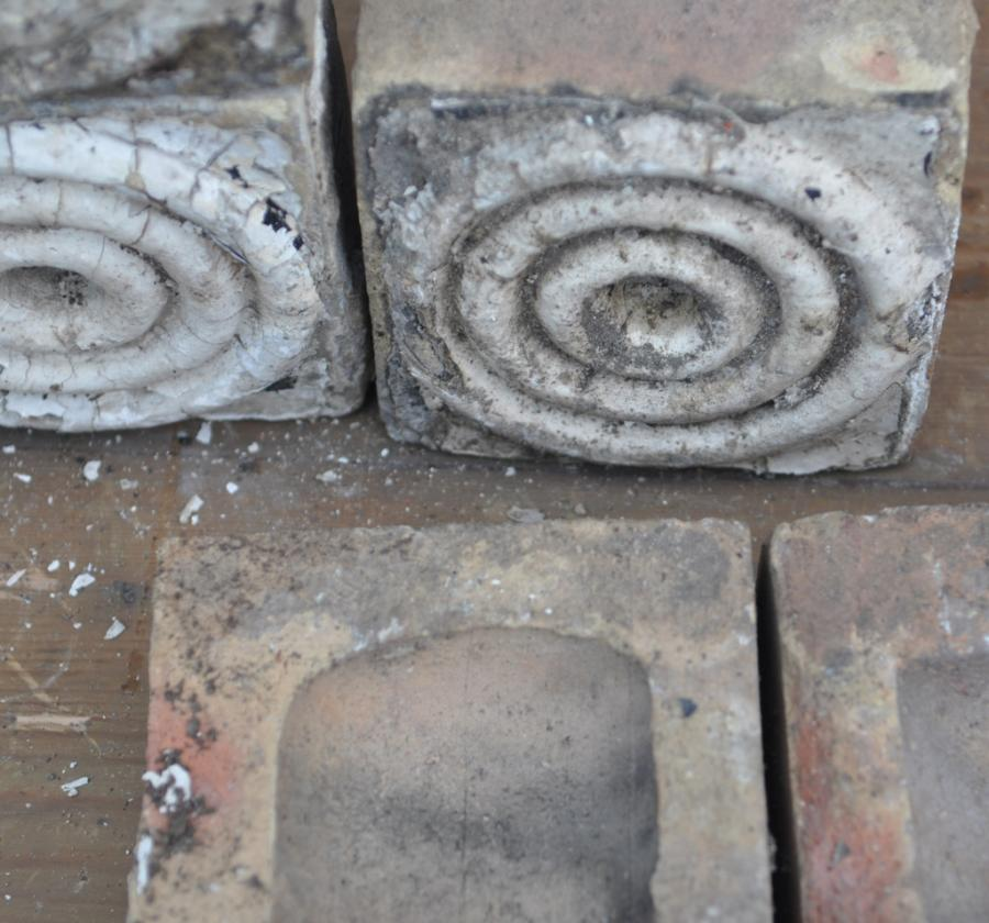 antique Decorative terracotta bricks - concentric circles