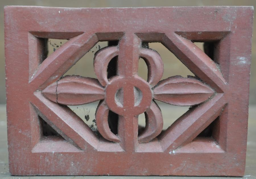 antique Decorative terracotta bricks -pair floral vents