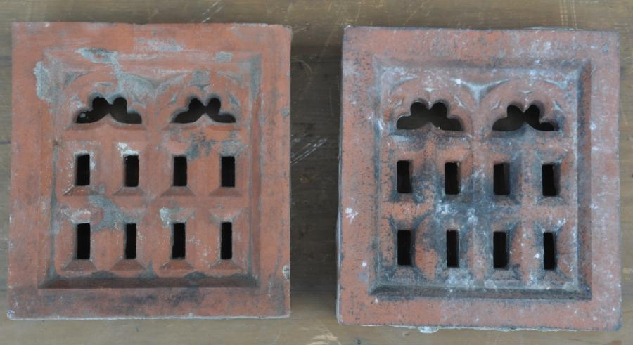 antique Decorative terracotta bricks -pair gothic vents