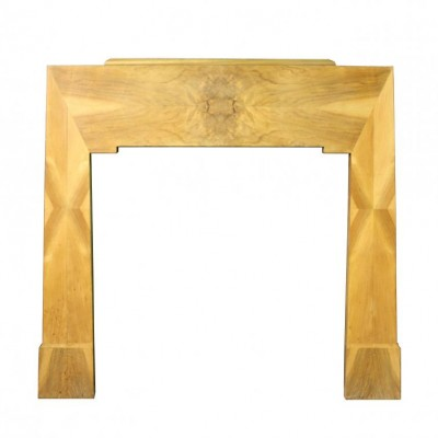 An Art Deco Walnut veneered fire surround