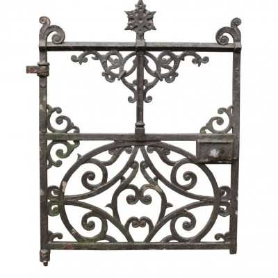A Victorian cast iron side gate with post