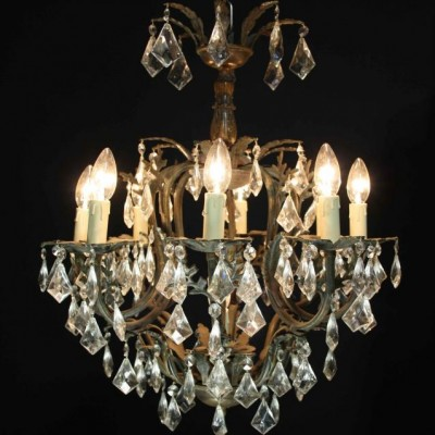 An early 20th C. eight branch French cage chandelier