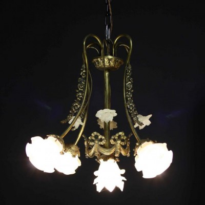 An early 20th C. French four branch light fitting