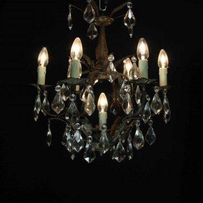 An early 20th C. French six branch cage Chandelier