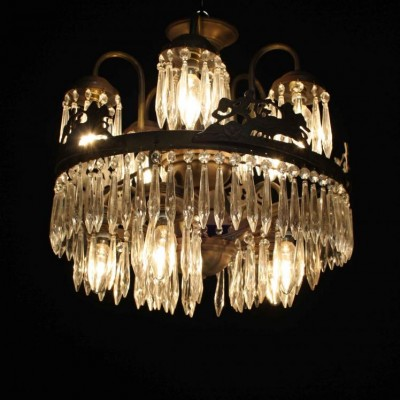 An early 20th C. French waterfall chandelier
