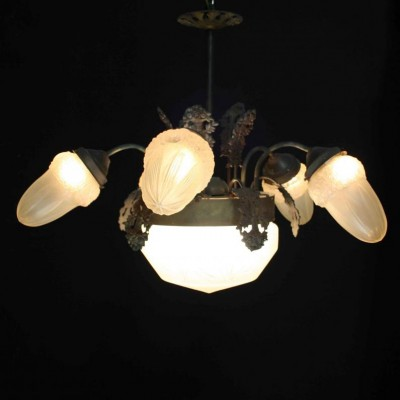 An early 20th C. five branch French light fitting