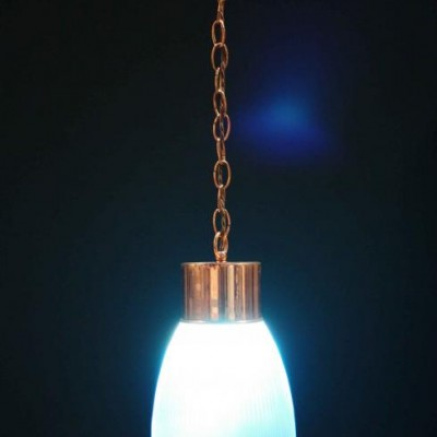 A pair of mid-20th C. copper pendant light fittings