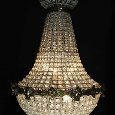 A large French empire style bag chandelier