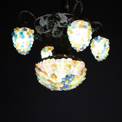 A mid-20th C. four branch French grape chandelier