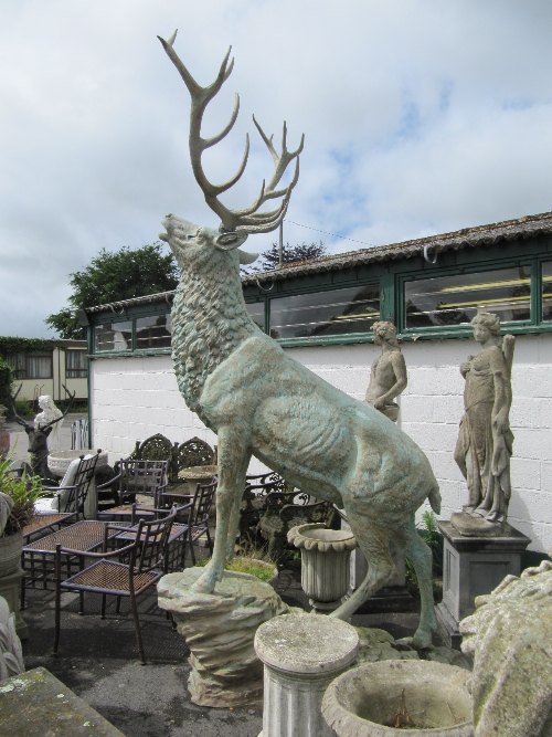 Cottees Garden Sale Lot 77: A Monumental Green Patinated Bronze Model Of A  Stag At