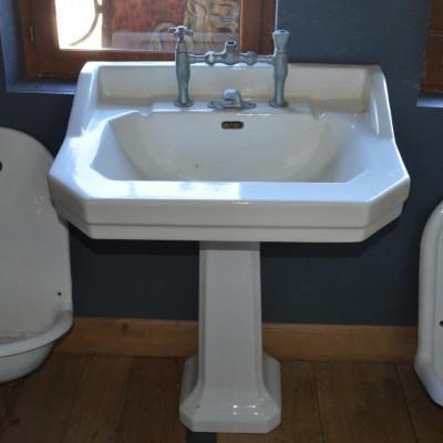 lavabo emaille sur pied - antique wash basin on pedestal
