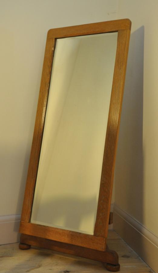 Period art deco cheval dressing mirror in oak