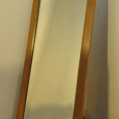 Period art deco cheval dressing mirror in oak
