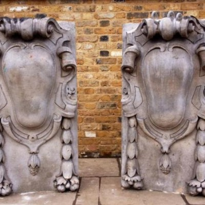 Antique Portland Stone Cartouches From St James's Market, London