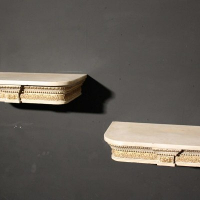 A pair of early 19th C. wall mounted floating shelves