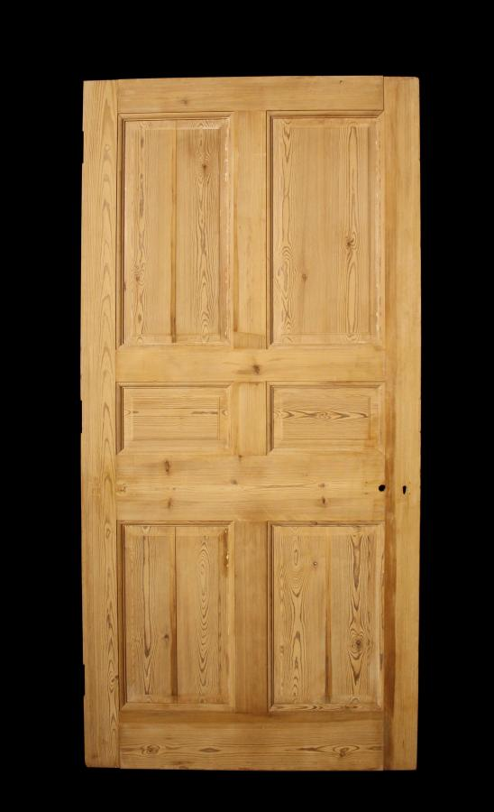 A 19th Century six panel raised and fielded pine front door
