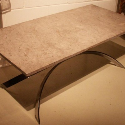 antique marble and steel coffee table