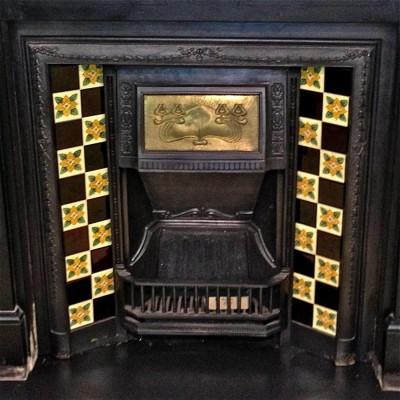 Art Nouveau Antique Tiled Fireplace Insert with Copper Hood