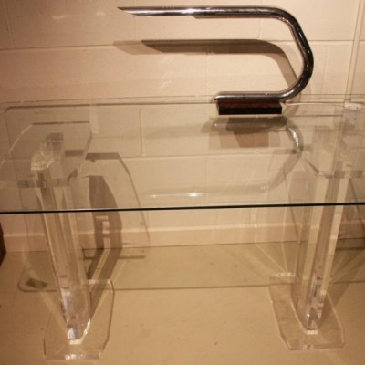 lucite and glass desk /side / console table