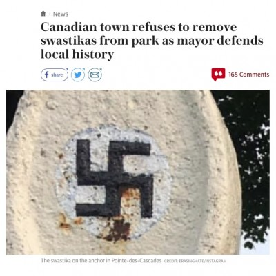 Global ruckus over 1905 swastika trademark in a Quebec park