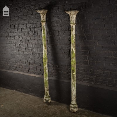 Pair 19th C Cast Iron Columns Pillars Stanchions with Distressed Paint