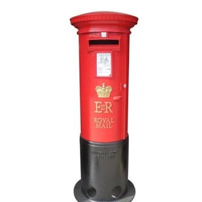 Original Refurbished Red Cast Iron Elizabeth II Royal Mail Pillar Box