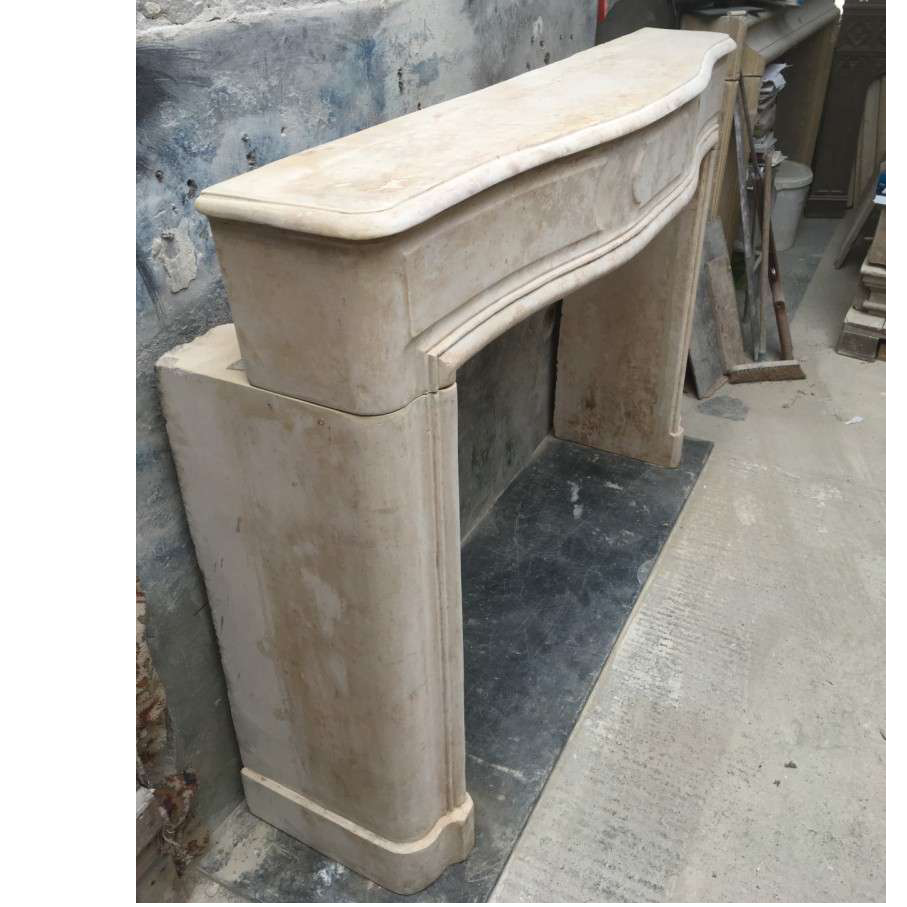 Antique French Stone  Louis XIV Fireplace