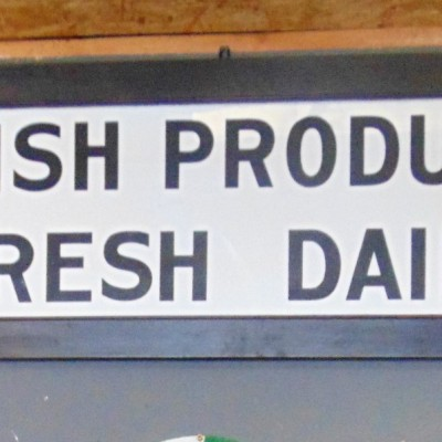 1920's Milk Glass Advertising Sign for Irish Produce
