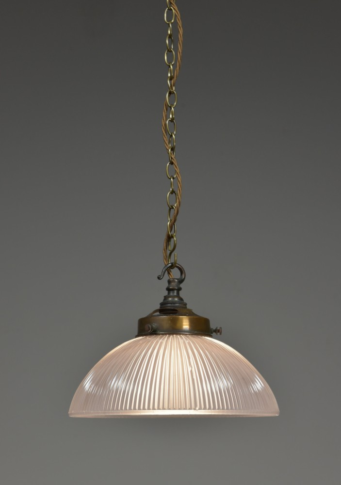 Antique Holophane bowl shade pendant light