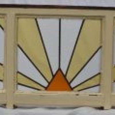 Art deco leaded light stained glass window. R638a
