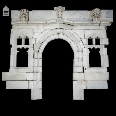 19th C Gothic Arched Bath Stone Doorway Entranceway with Mullion Windows