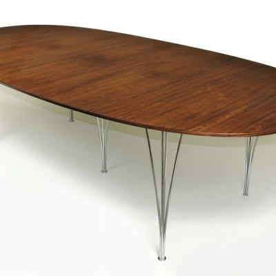 "Super-Ellipse ""Rosewood"" Table by Piet Hein (Bruno Mathsson) Fritz Hansen Denmark"